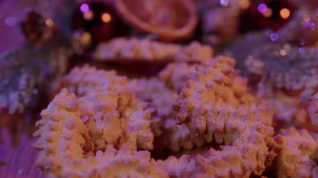 powdered : Spritz biscuits Christmas cookies on a decorated table