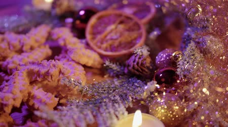 rodzynki : Typical Christmas background with cookies and spritz biscuits Wideo