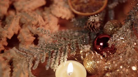 uva passa : Typical Christmas decoration with cookies and candles