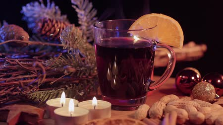 uva passa : Mulled wine on a Christmas table