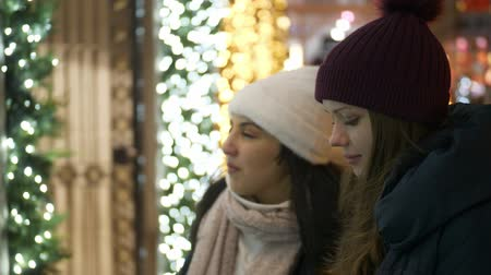 apple park : Two girls in New York look at Christmas decorated shop windows