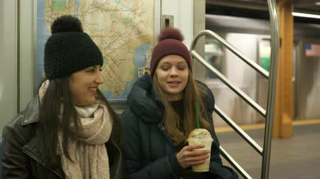 apple park : Two girls sit in a New York subway train Stock Footage