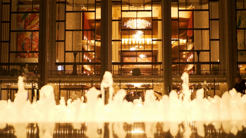apple park : Beautiful Fountain at Metropolitan Opera Lincoln Center New York Stock Footage