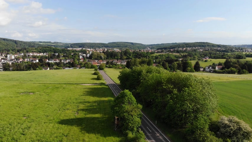 uzak : Aerial flight over a beautiful countryside landscape