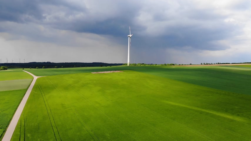 oak : Clean ecofriendly energy - wind power plants - aerial view from a drone flight