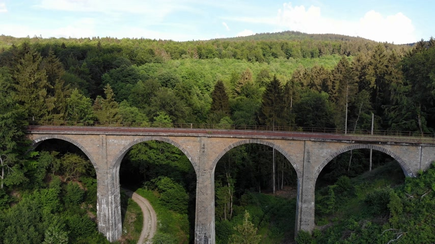 open blossom : Railway overpass in the forest hills - aerial view over an old viaduct Stock Footage