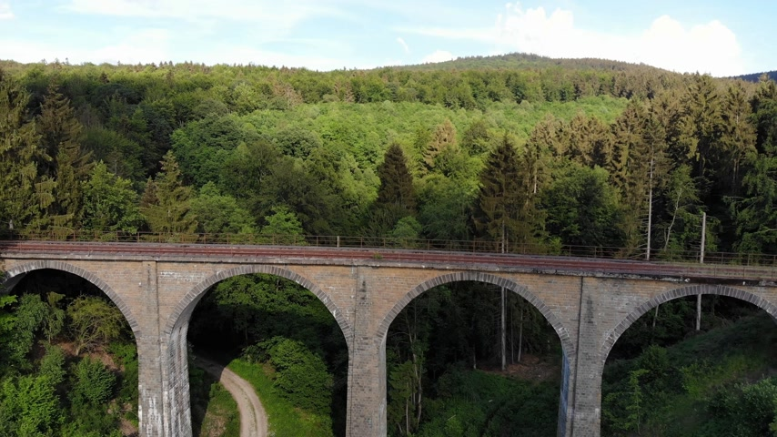leafs : Railway overpass in the forest hills - aerial view over an old viaduct Stock Footage