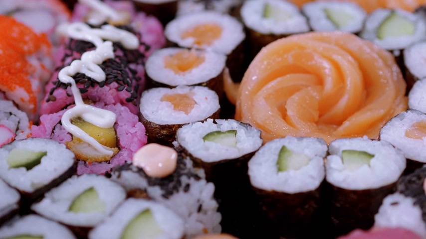 roll up : Selection of Sushi and Japanese food Stock Footage