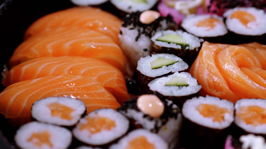 heathy : Sake Nigiri sushi - fresh salmon Stock Footage