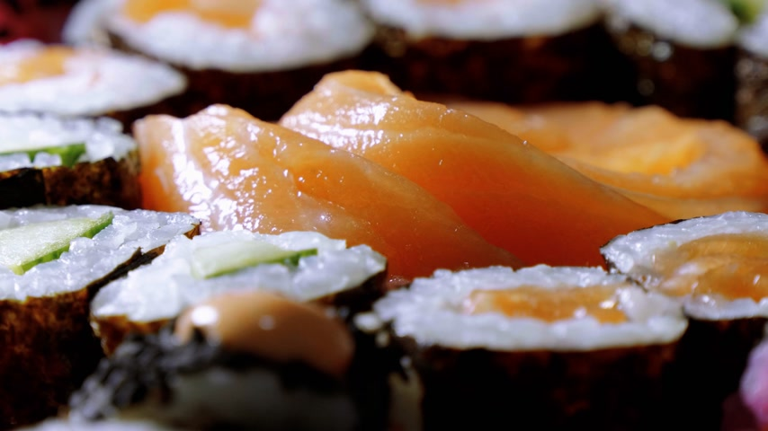 heathy : Varietey of Asian Sushi on a plate