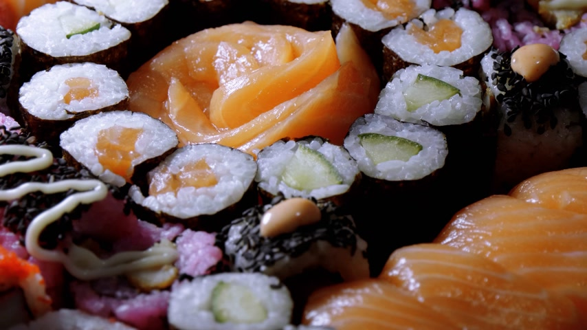 heathy : Fresh Sushi rolls- close up shot Stock Footage