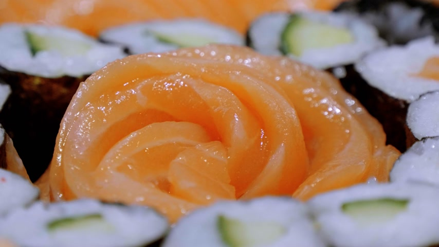 cucumber : Salmon Sashimi Sushi and a maki selection Stock Footage