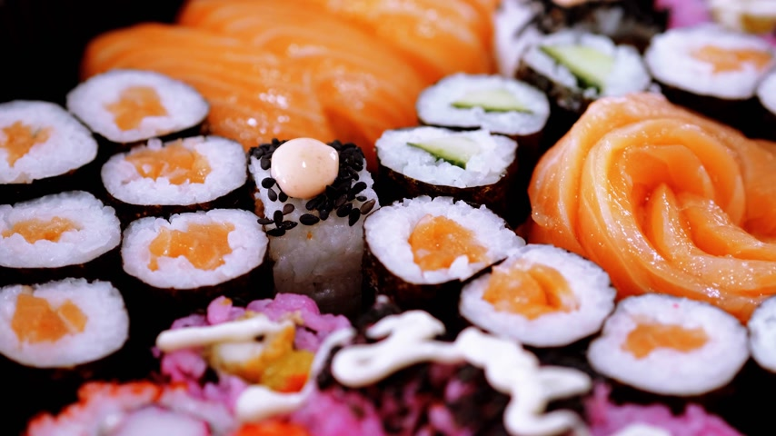sushirestaurant : Selection of Sushi and Japanese food Stock Footage