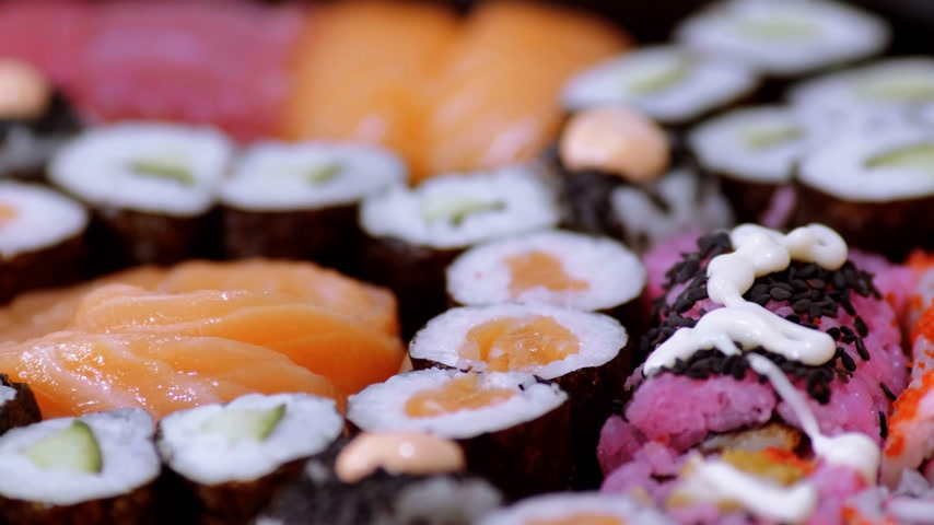 heathy : Close up of freshly made Sushi on a plate Stock Footage