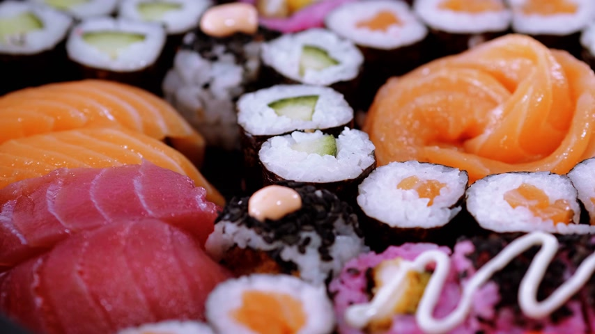 heathy : Selection of freshly made Sushi pieces on a plate