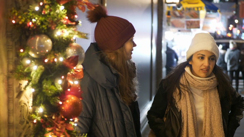 taxi : Two girls do Christmas Shopping in New York