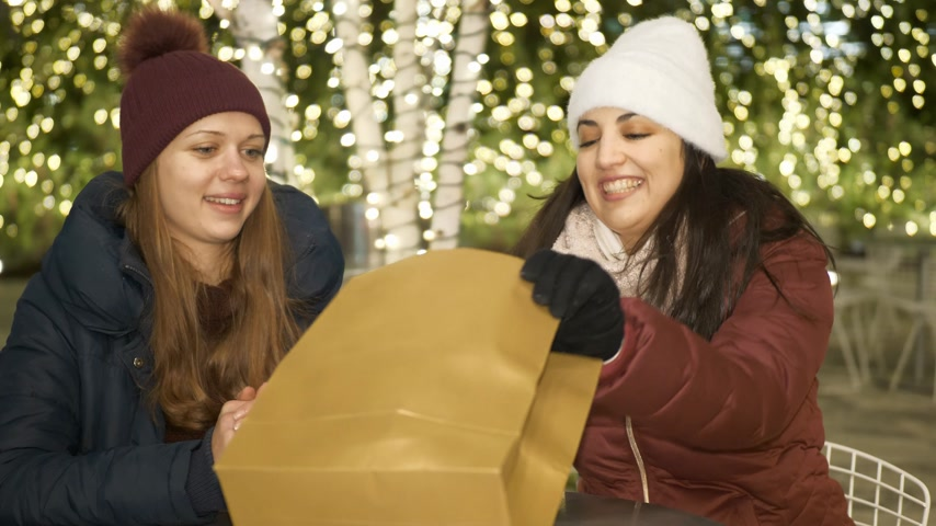 jabłka : Two girls in New York at Christmas time enjoy shopping presents Wideo