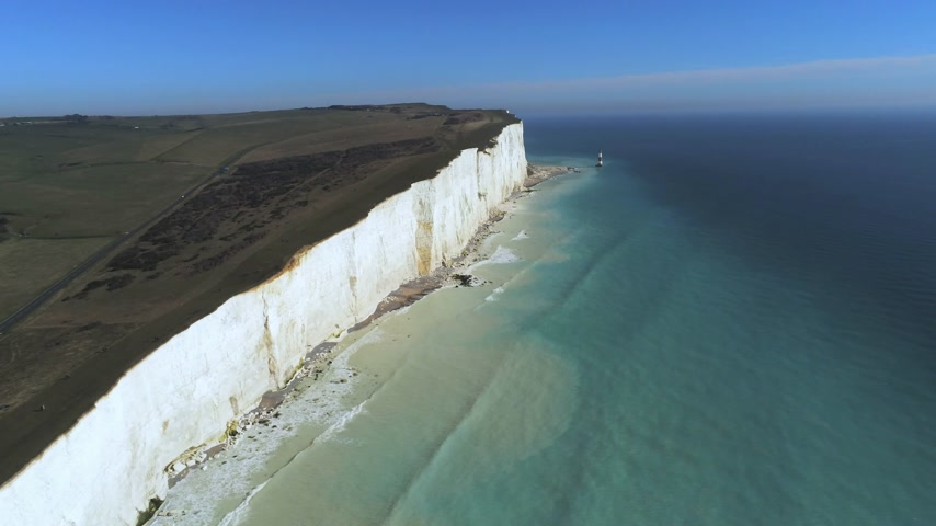 head over : Flight over the white cliffs of the South England coast