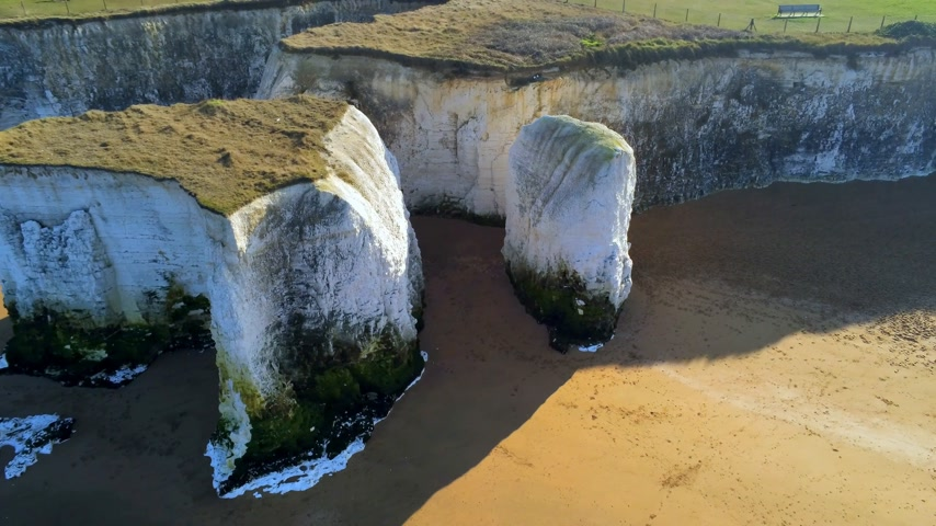erodida : Beautiful Botany Bay and chalk rocks in England from above