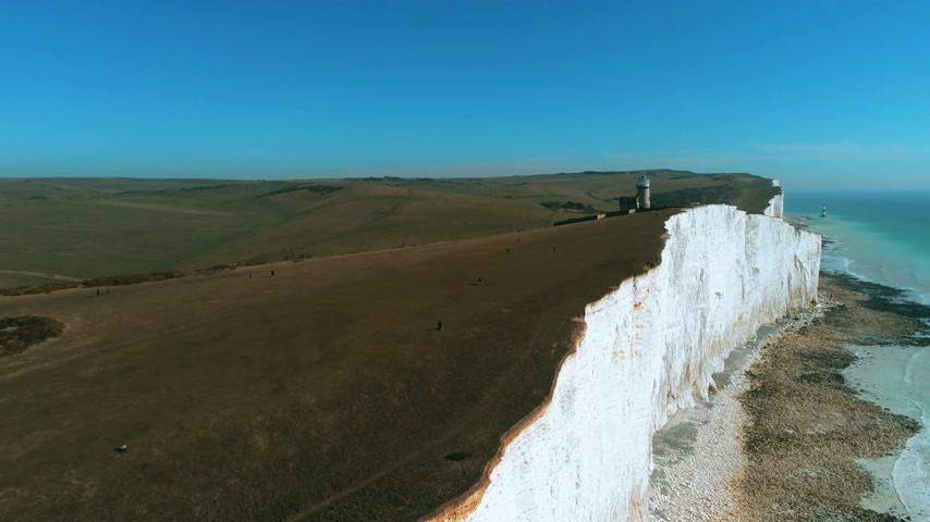 erodida : The White Cliffs of England in Sussex from above Stock Footage