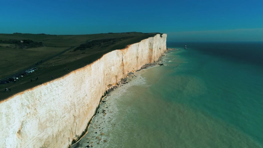latarnia morska : Flight over the white cliffs of the South England coast
