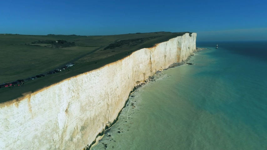geologia : The White Cliffs of England in Sussex from above Wideo
