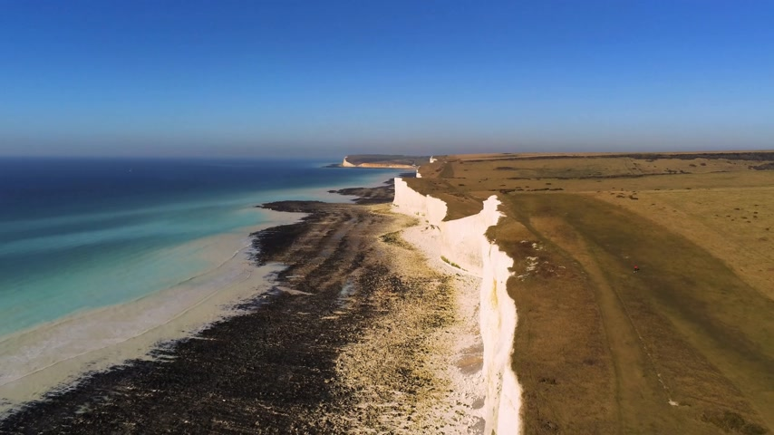 eroded : Flight over the wonderful white cliffs at the South English coast