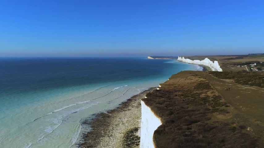 erodált : Flight over the white cliffs of the South England coast