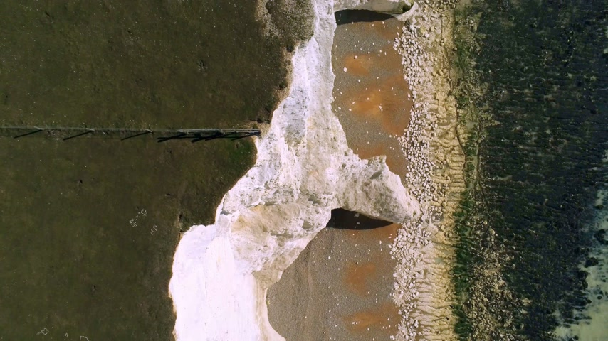 eroded : Flight over the white cliffs of Beachy Head and Seven Sisters in England