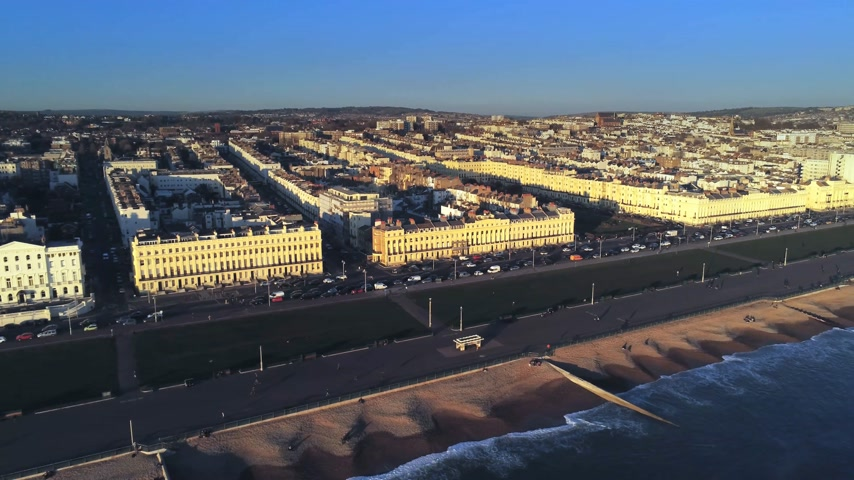 victorian : City of Brighton at the south coast of England from above Stock Footage