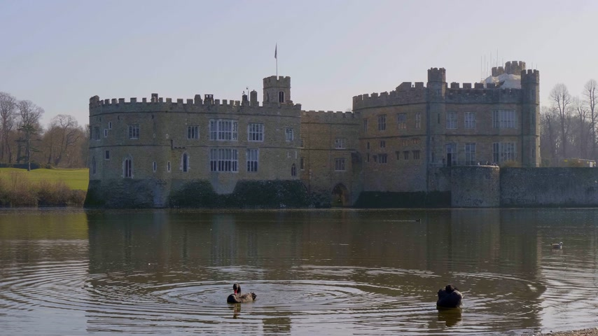 yaratık : Famous Leeds Castle in UNITED KINGDOM - KENT, UNITED KINGDOM - FEBRUARY 20, 2019 Stok Video