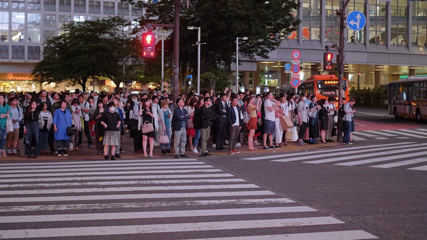 shinto : Hundreds of people crossing the street in Tokyo Shibuya - TOKYO, JAPAN - JUNE 12, 2018