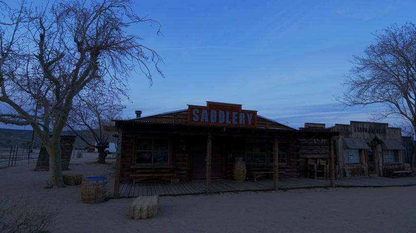 sight seeing : Historic wooden buildings at at Pioneertown in California in the evening - CALIFORNIA, USA - MARCH 18, 2019