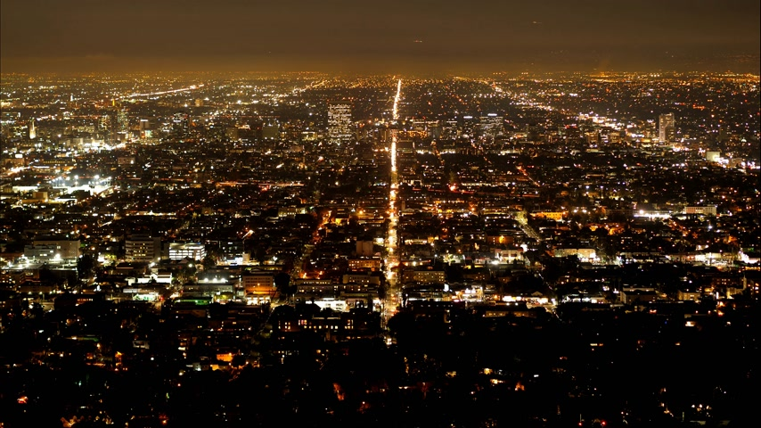 los angeles skyline : Time lapse of Los Angeles by night - aerial view Stock Footage