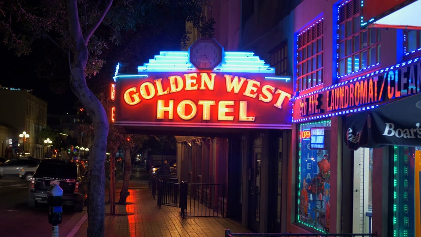embarcadero : Golden West Hotel at historic Gaslamp Quarter San Diego by night - CALIFORNIA, USA - MARCH 18, 2019