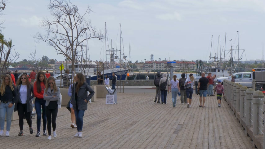tengeri kikötő : Walk at Navy Pier San Diego - CALIFORNIA, USA - MARCH 18, 2019 Stock mozgókép