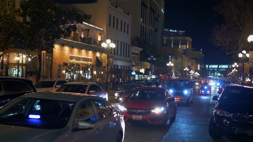 embarcadero : Historic Gaslamp Quarter San Diego by night - CALIFORNIA, USA - MARCH 18, 2019