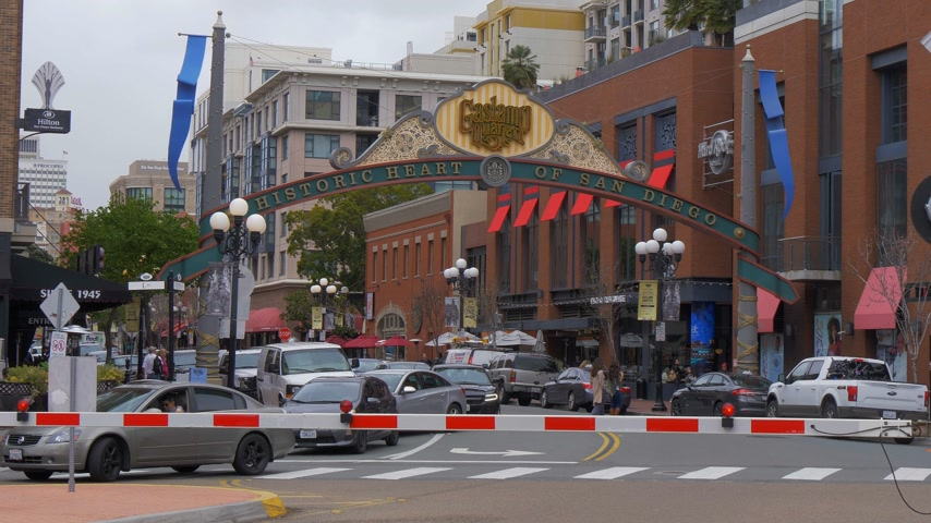embarcadero : Historic Heart of San Diego - the Gaslamp district - CALIFORNIA, USA - MARCH 18, 2019 Stock Footage