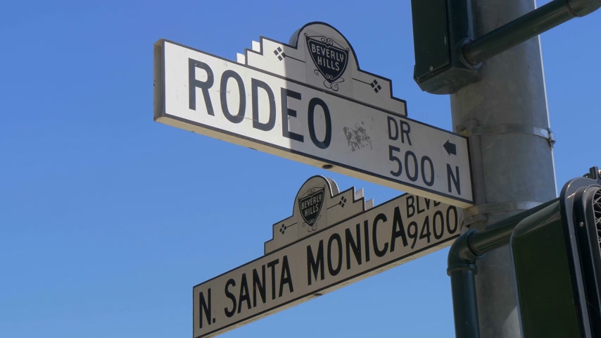 дорогой : Street sign Santa Monica Blvd and Rodeo Drive in Beverly Hills - CALIFORNIA, USA - MARCH 18, 2019