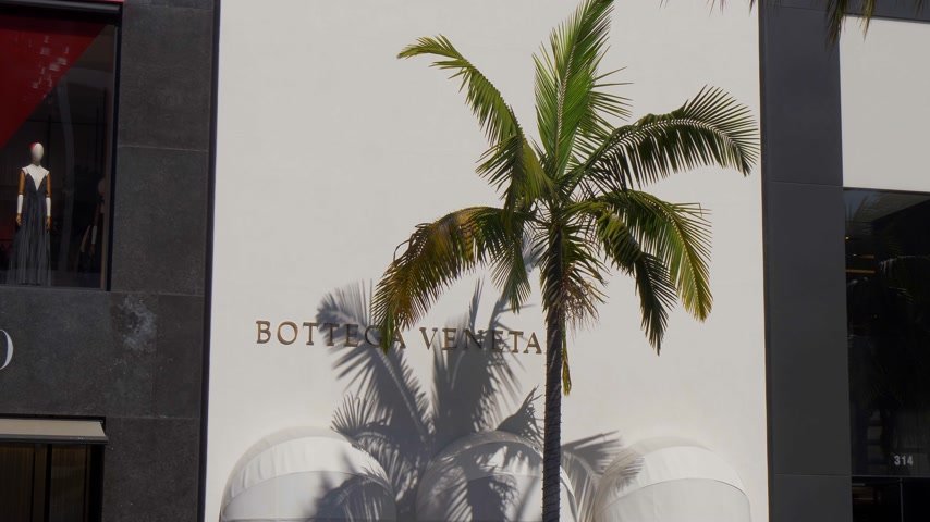 pedestres : Botega Veneta store at Rodeo Drive in Beverly Hills - CALIFORNIA, USA - MARCH 18, 2019