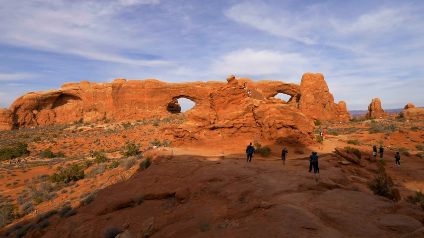 moab : Walking through Arches National Park in Utah - UTAH, USA - MARCH 20, 2019