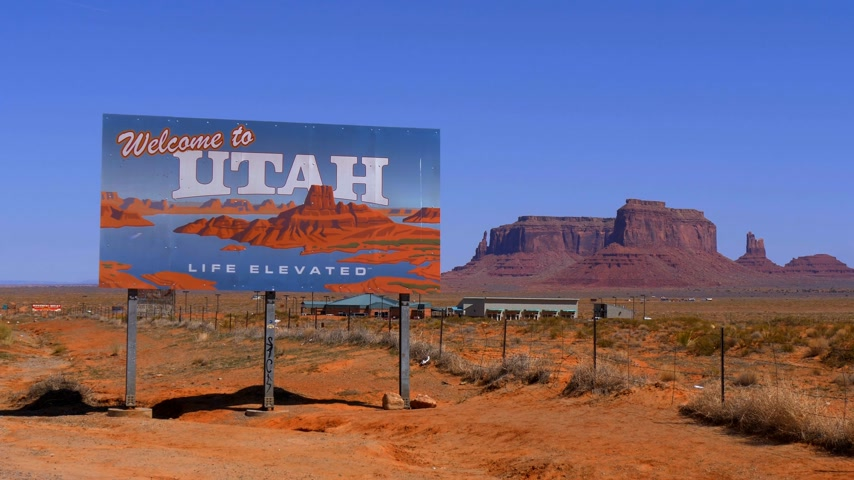 awesome : Welcome to Utah street sign - UTAH, USA - MARCH 20, 2019