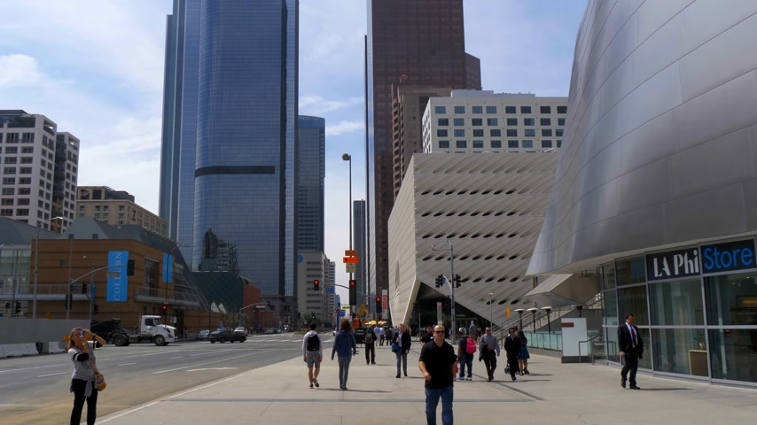 scena : The Broad Art Museum at Los Angeles Downtown - CALIFORNIA, USA - MARCH 18, 2019 Wideo