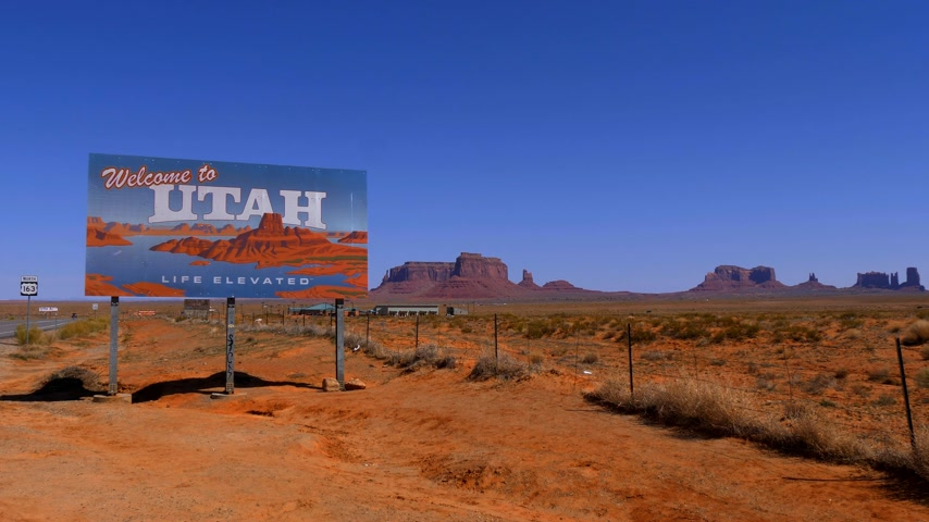 sudoeste : Welcome to Utah street sign - UTAH, USA - MARCH 20, 2019