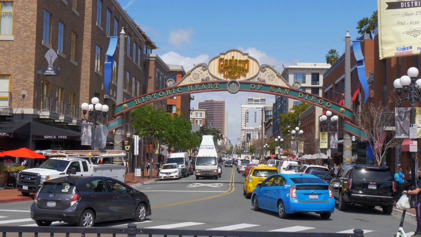 embarcadero : Gaslamp Quarter in San Diego Downtown - CALIFORNIA, USA - MARCH 18, 2019