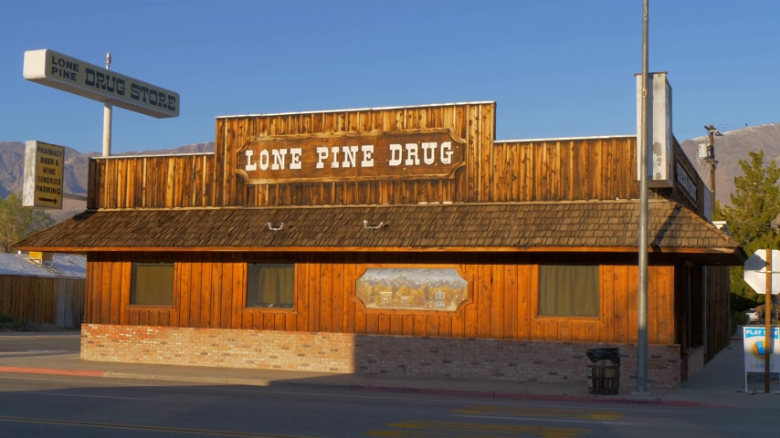 eastern sierra : Wooden Drug store in the historic village of Lone Pine - LONE PINE CA, USA - MARCH 29, 2019