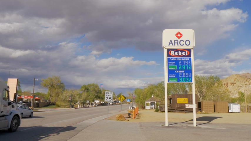 neúrodný : Gas station in the village of Beatty in Nevada - BEATTY, USA - MARCH 29, 2019