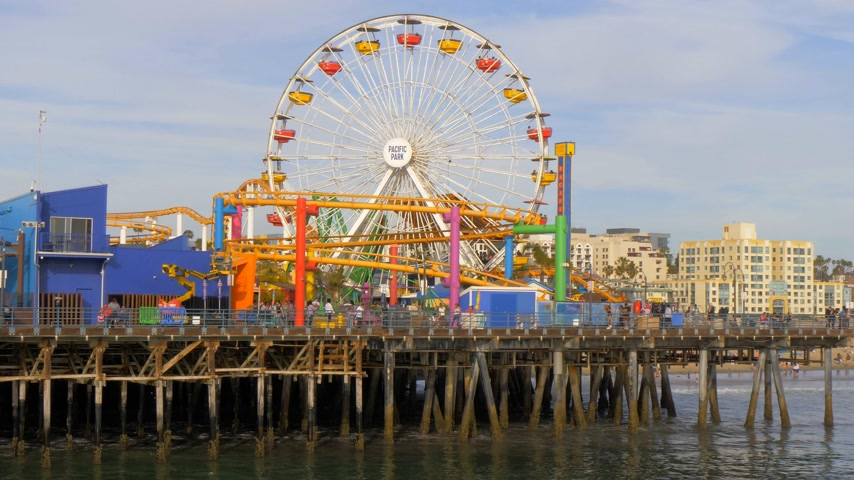 lifesavers : Famous Santa Monica Pier in Los Angeles - LOS ANGELES, USA - MARCH 29, 2019