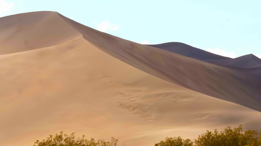 местность : Big Sand Dunes in the desert of Nevada Стоковые видеозаписи