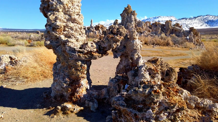 mono lake : Tufa towers columns of limestone at Mono Lake in California - travel photography